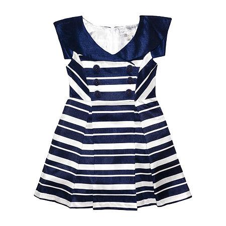 Toddler A-line Striped Print Round Neck Sleeveless Dress by Tahari By Asl